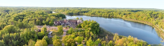 Aerial view of Punderson Manor (from http://www.pundersonmanorstateparklodge.com/)